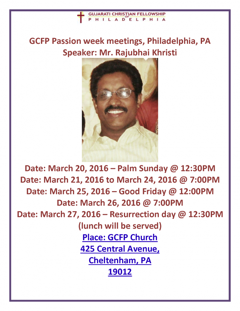 GCFP Passion week meetings2016