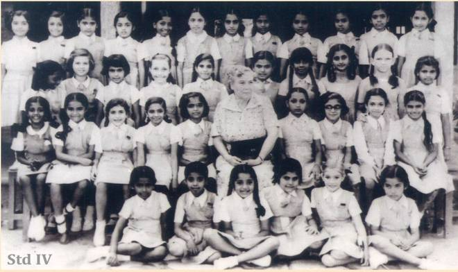 Jayalalithaa (bottom right) in a 1957 photograph, when she was in the 4th grade at Bishop Cotton Girls High School in Bengaluru. Photo: EGK & Son Studio | Photo Credit: