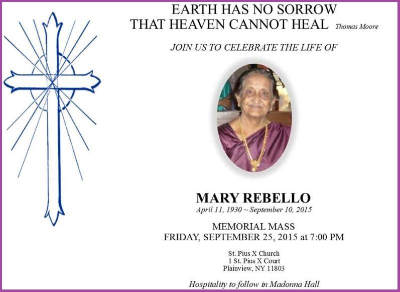 MemorialMassMrs. MaryRebello