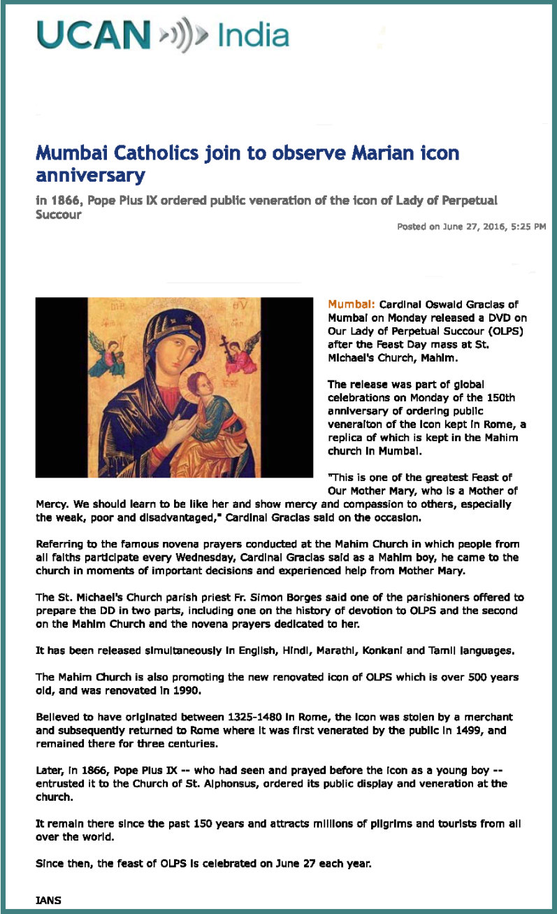 Mumbai Catholics join to observe Marian icon anniversary _ UCAN India