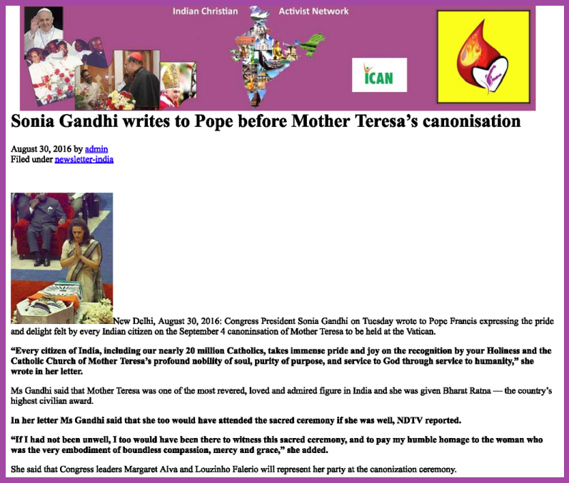 Sonia Gandhi writes to Pope